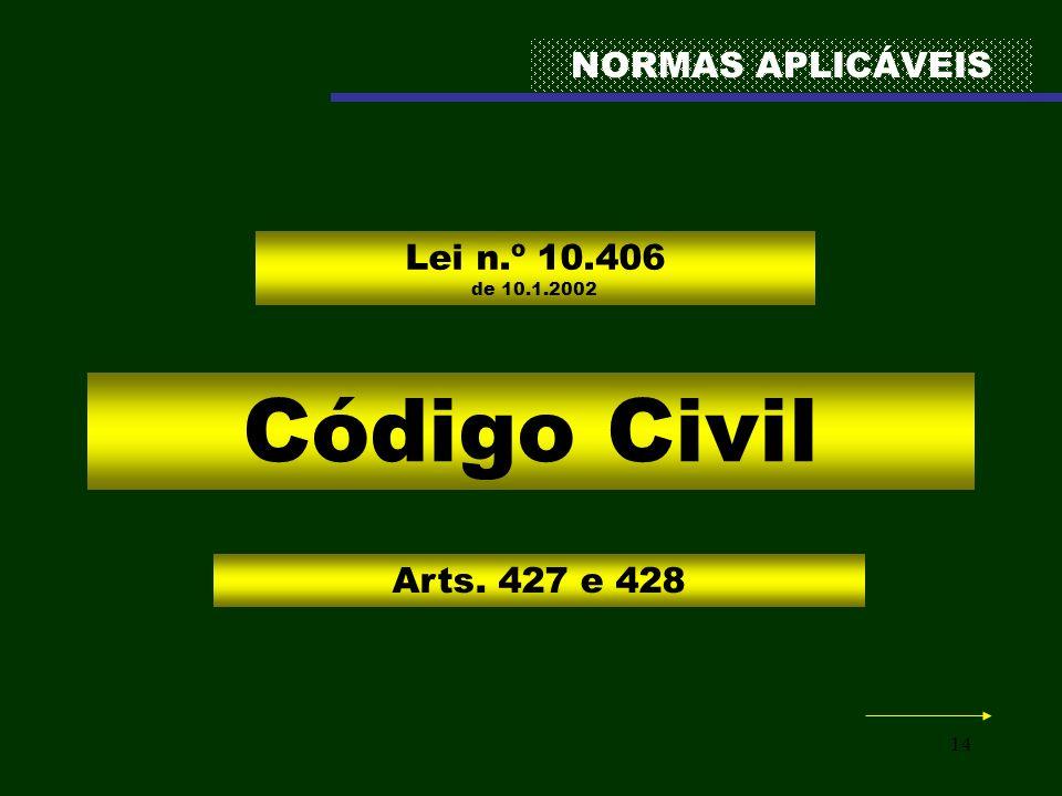 14 NORMAS APLICÁVEIS Código Civil Lei n.º 10.406 de 10.1.2002 Arts. 427 e 428