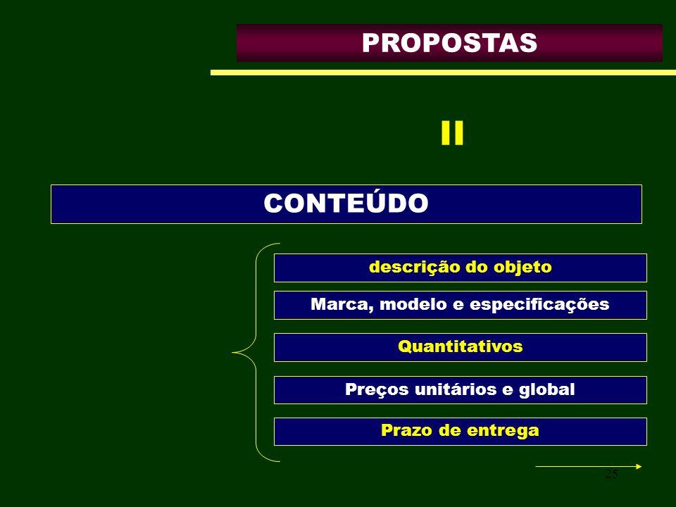 25 PROPOSTAS descrição do objeto CONTEÚDO II Marca, modelo e especificações Quantitativos Preços unitários e global Prazo de entrega