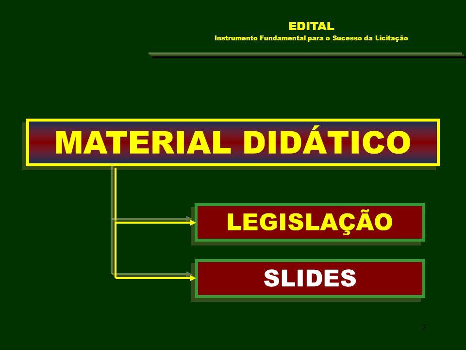 3 MATERIAL DIDÁTICO SLIDES LEGISLAÇÃO EDITAL Instrumento Fundamental para o Sucesso da Licitação