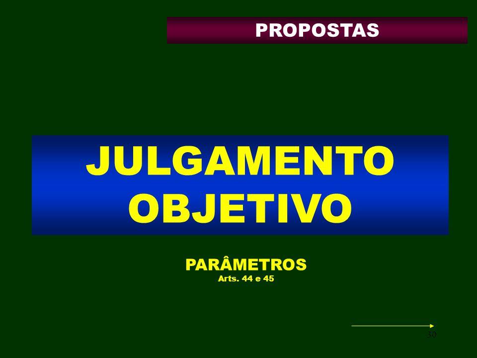 30 JULGAMENTO OBJETIVO PARÂMETROS Arts. 44 e 45 PROPOSTAS