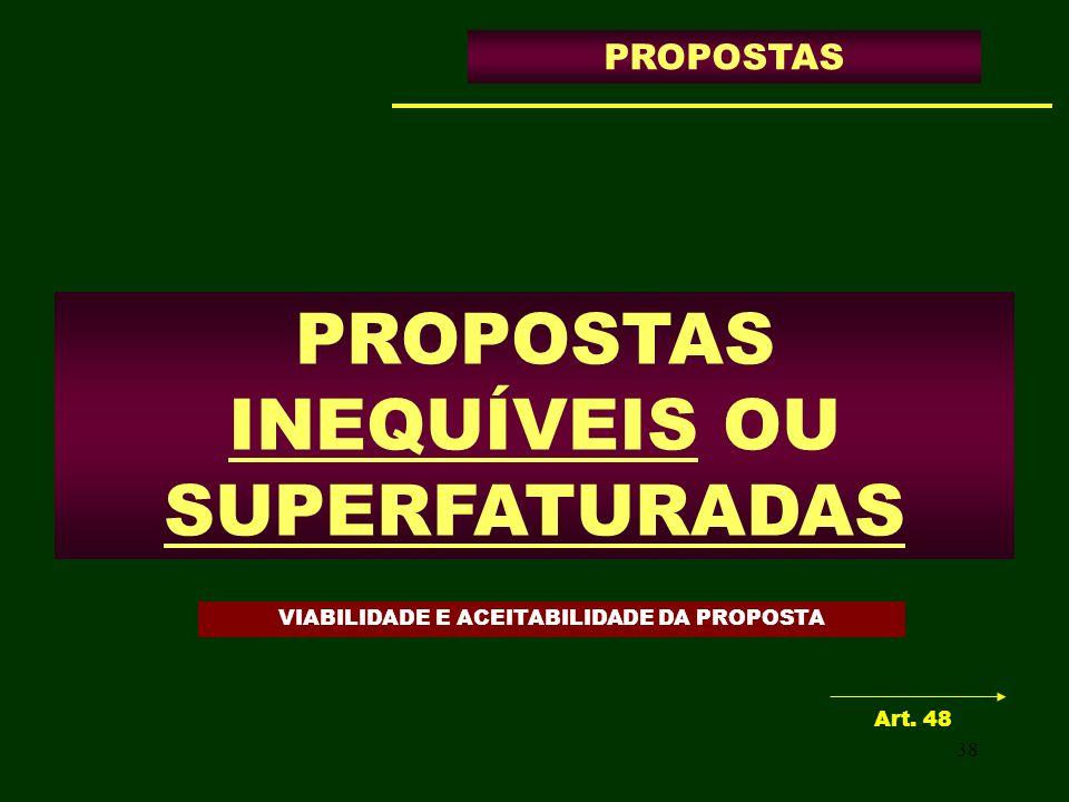 38 PROPOSTAS INEQUÍVEIS OU SUPERFATURADAS PROPOSTAS Art. 48 VIABILIDADE E ACEITABILIDADE DA PROPOSTA