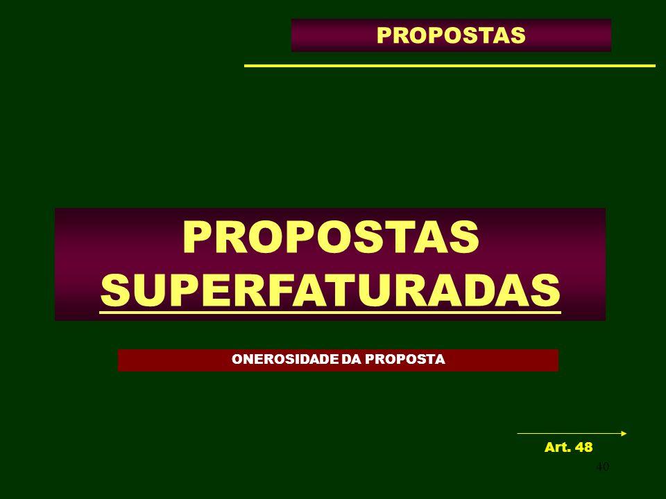 40 PROPOSTAS SUPERFATURADAS PROPOSTAS Art. 48 ONEROSIDADE DA PROPOSTA