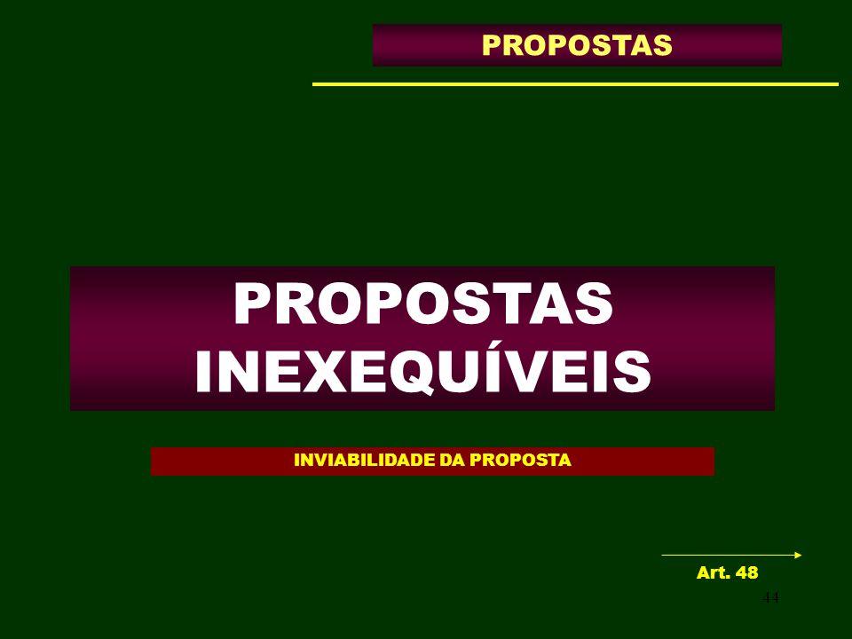 44 PROPOSTAS INEXEQUÍVEIS PROPOSTAS Art. 48 INVIABILIDADE DA PROPOSTA