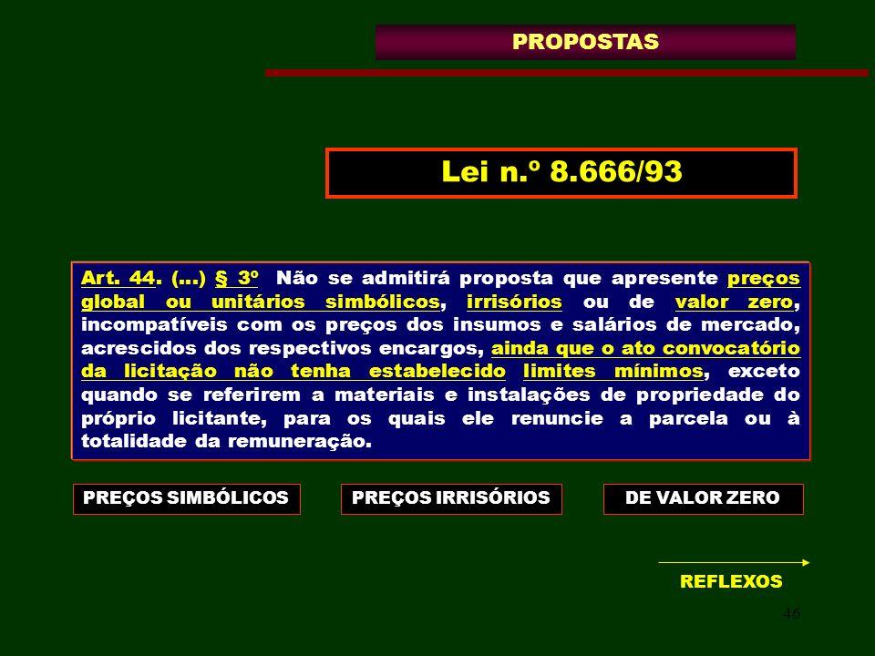 46 Art. 44. (...) § 3º Não se admitirá proposta que apresente preços global ou unitários simbólicos, irrisórios ou de valor zero, incompatíveis com os