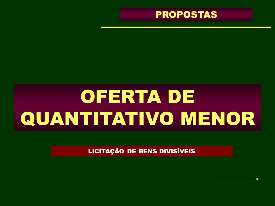 51 OFERTA DE QUANTITATIVO MENOR PROPOSTAS LICITAÇÃO DE BENS DIVISÍVEIS