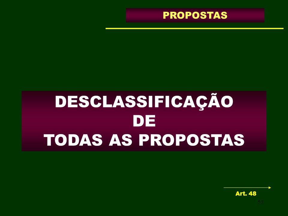 53 DESCLASSIFICAÇÃO DE TODAS AS PROPOSTAS PROPOSTAS Art. 48