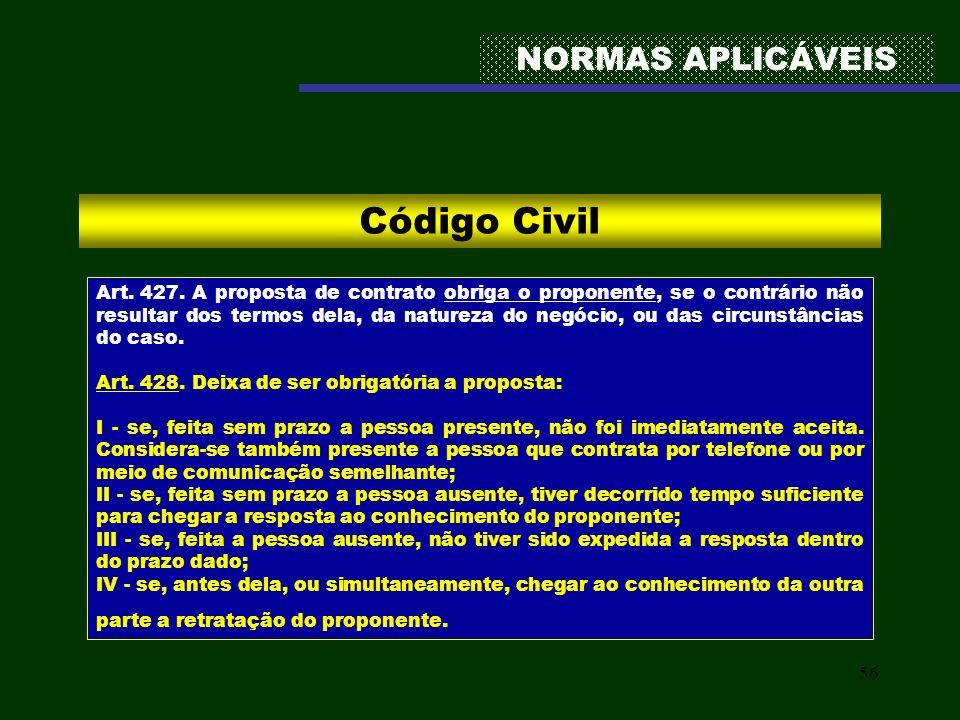 56 NORMAS APLICÁVEIS Código Civil Art. 427. A proposta de contrato obriga o proponente, se o contrário não resultar dos termos dela, da natureza do ne