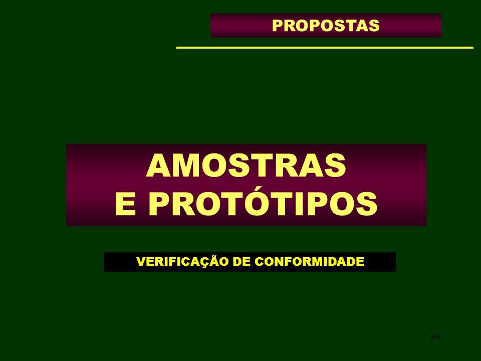 59 AMOSTRAS E PROTÓTIPOS PROPOSTAS VERIFICAÇÃO DE CONFORMIDADE