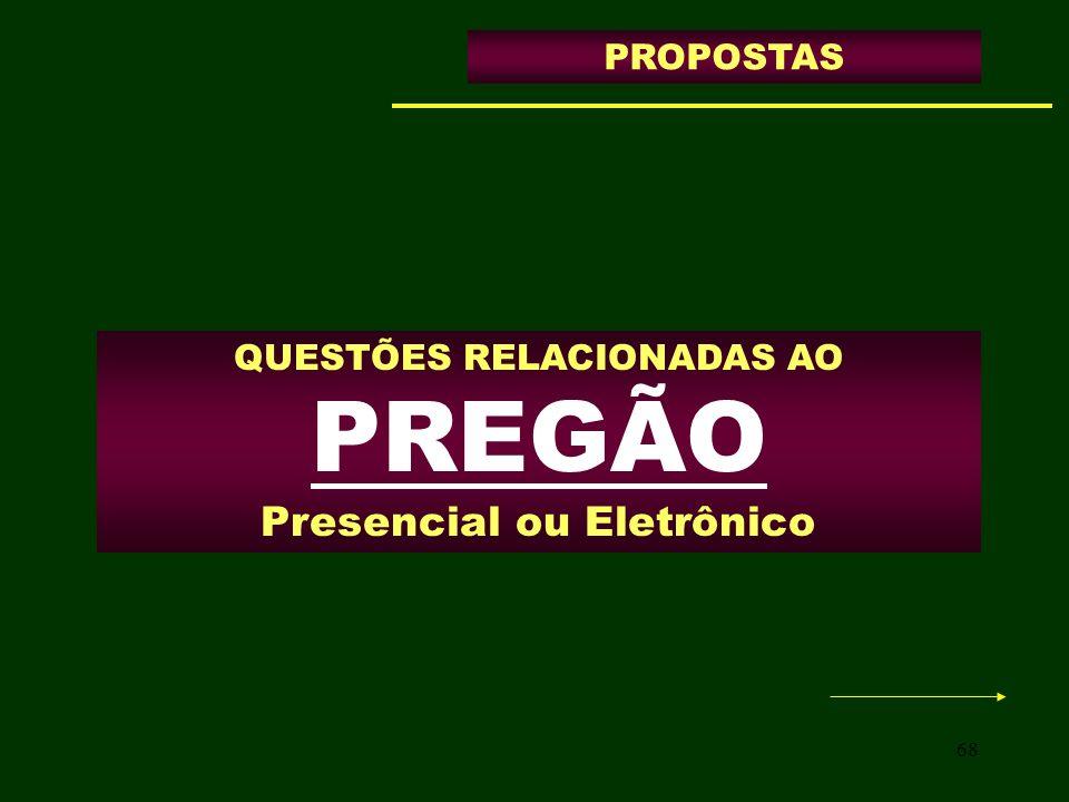 68 QUESTÕES RELACIONADAS AO PREGÃO Presencial ou Eletrônico PROPOSTAS