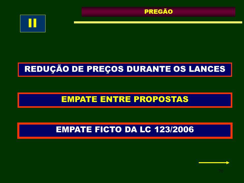 70 PREGÃO EMPATE ENTRE PROPOSTAS EMPATE FICTO DA LC 123/2006 REDUÇÃO DE PREÇOS DURANTE OS LANCES II