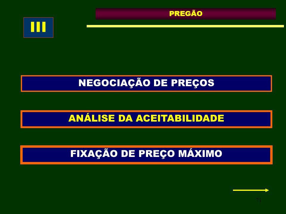 71 PREGÃO ANÁLISE DA ACEITABILIDADE FIXAÇÃO DE PREÇO MÁXIMO NEGOCIAÇÃO DE PREÇOS III
