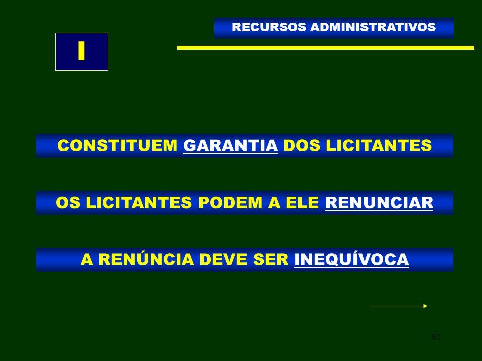 92 CONSTITUEM GARANTIA DOS LICITANTES RECURSOS ADMINISTRATIVOS OS LICITANTES PODEM A ELE RENUNCIAR A RENÚNCIA DEVE SER INEQUÍVOCA I