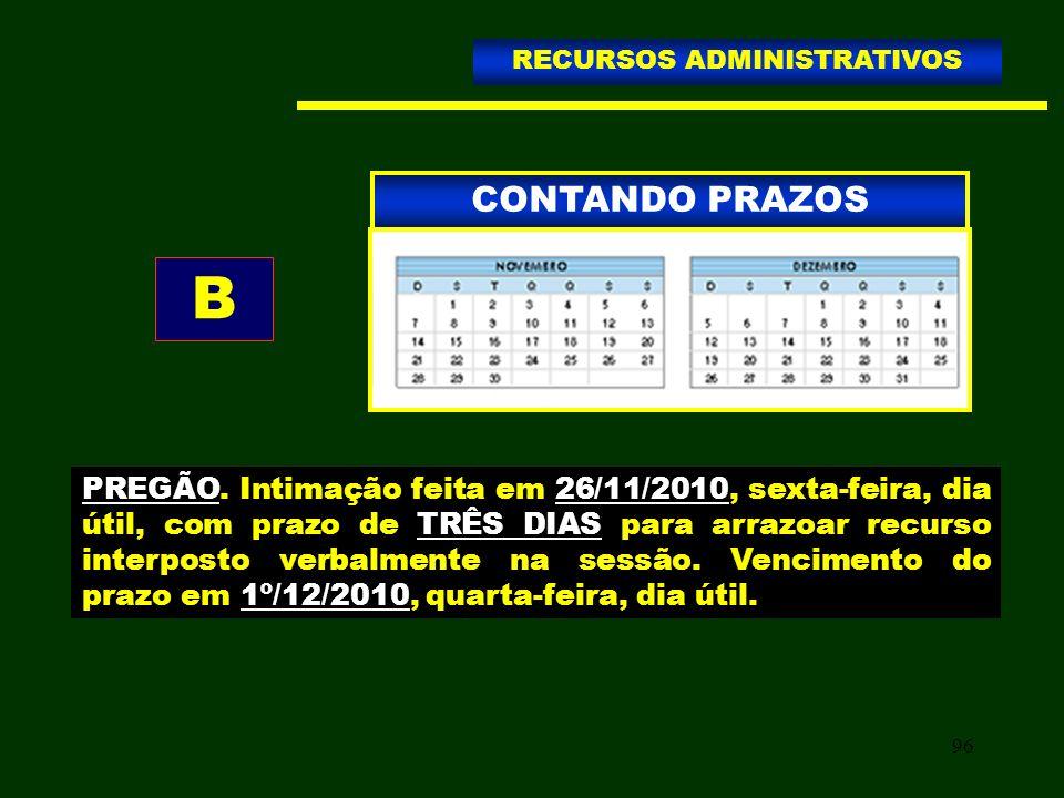 96 CONTANDO PRAZOS RECURSOS ADMINISTRATIVOS B PREGÃO. Intimação feita em 26/11/2010, sexta-feira, dia útil, com prazo de TRÊS DIAS para arrazoar recur