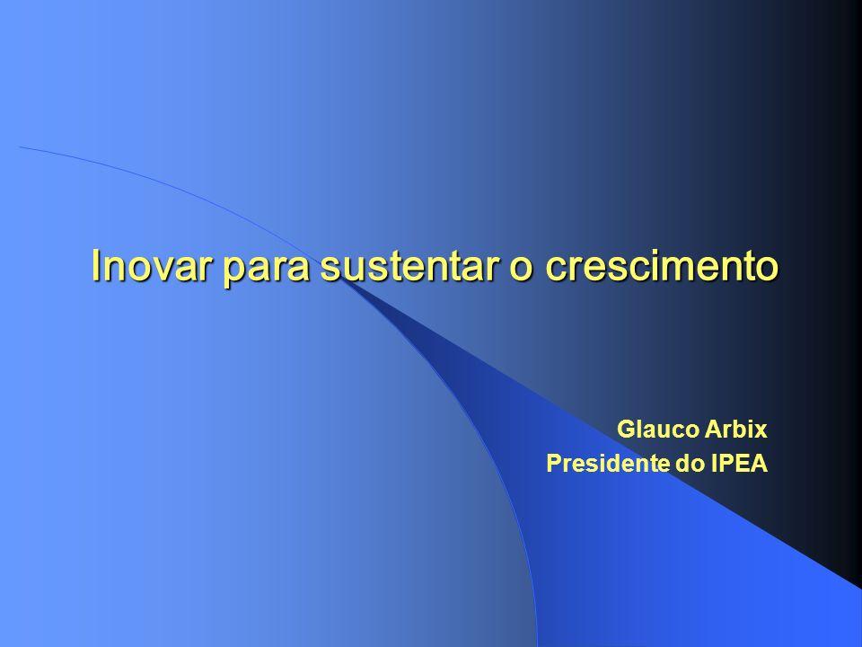 Inovar para sustentar o crescimento Glauco Arbix Presidente do IPEA