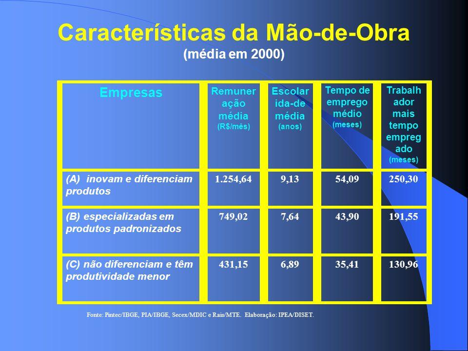 Características da Mão-de-Obra (média em 2000) Empresas Remuner ação média (R$/mês) Escolar ida-de média (anos) Tempo de emprego médio (meses) Trabalh