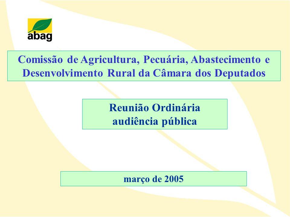 Reunião Ordinária audiência pública Comissão de Agricultura, Pecuária, Abastecimento e Desenvolvimento Rural da Câmara dos Deputados março de 2005