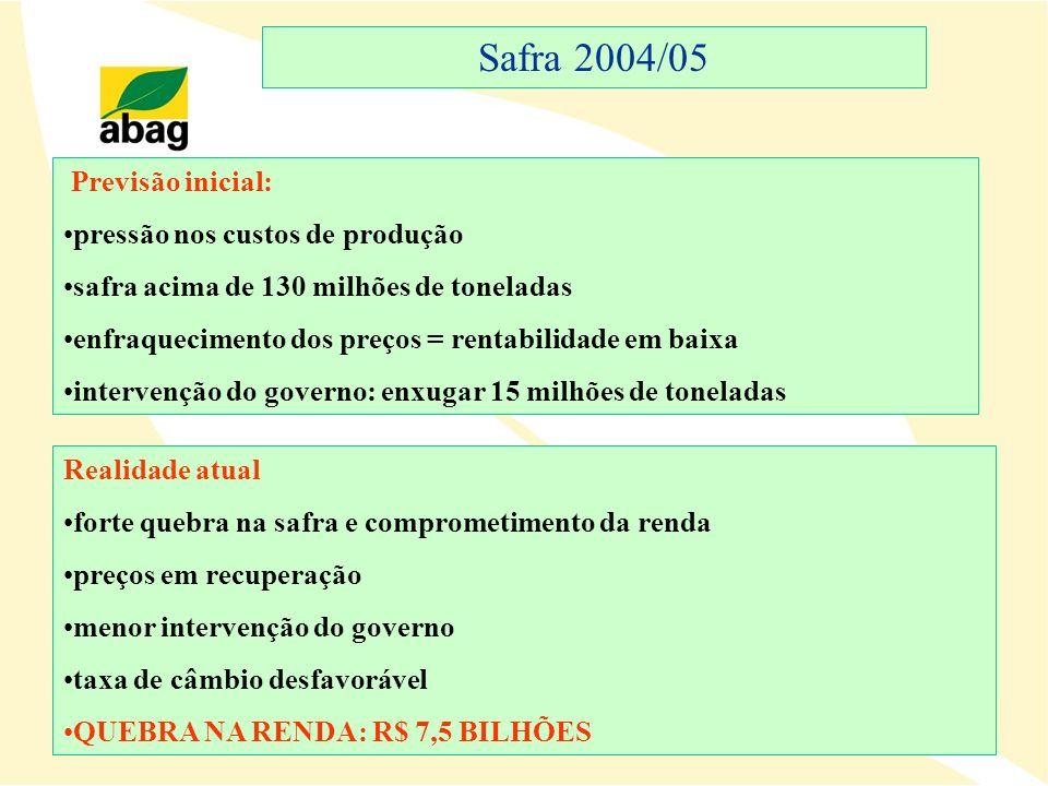 Safra 2004/05 Previsão inicial: pressão nos custos de produção safra acima de 130 milhões de toneladas enfraquecimento dos preços = rentabilidade em b