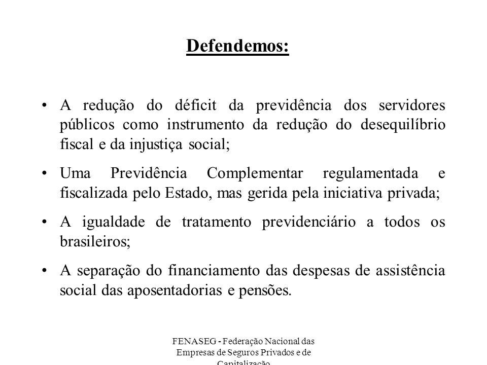 FENASEG - Federação Nacional das Empresas de Seguros Privados e de Capitalização Defendemos: A redução do déficit da previdência dos servidores públic