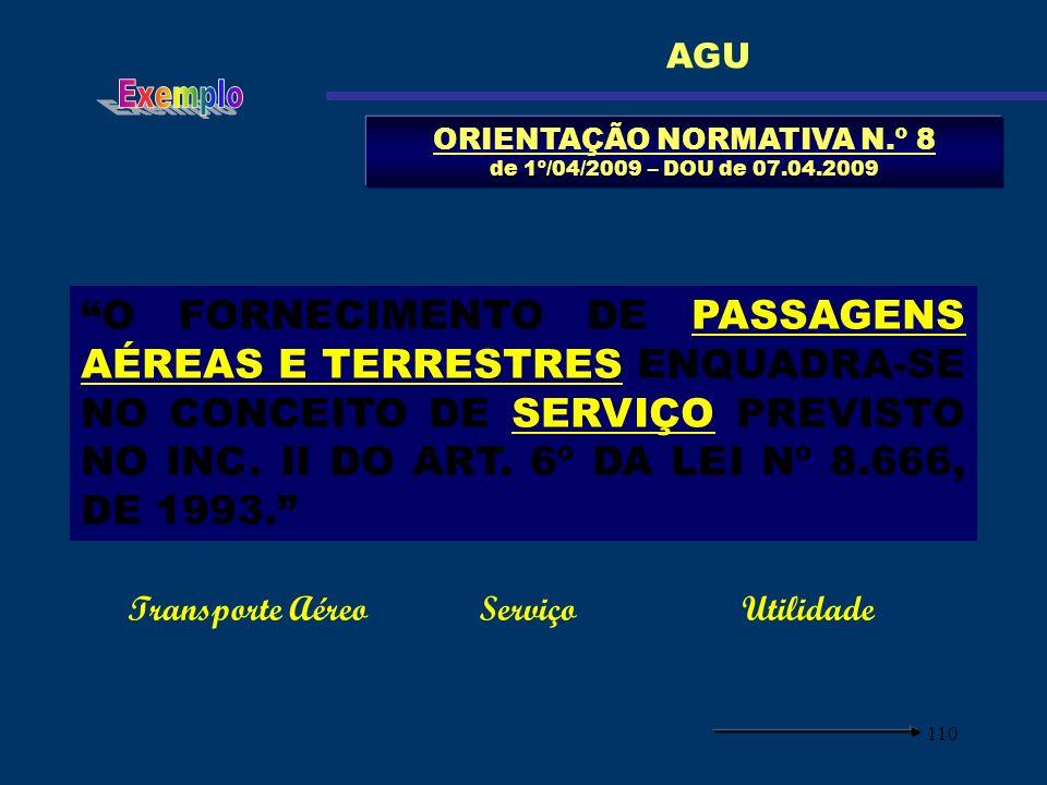 110 ORIENTAÇÃO NORMATIVA N.º 8 de 1º/04/2009 – DOU de 07.04.2009 AGU O FORNECIMENTO DE PASSAGENS AÉREAS E TERRESTRES ENQUADRA-SE NO CONCEITO DE SERVIÇ