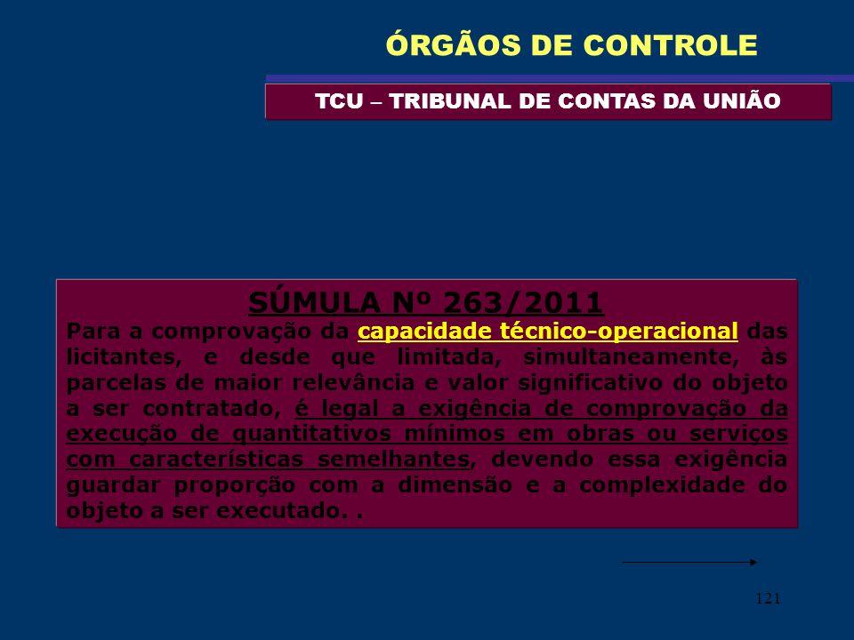 121 TCU – TRIBUNAL DE CONTAS DA UNIÃO ÓRGÃOS DE CONTROLE SÚMULA Nº 263/2011 Para a comprovação da capacidade técnico-operacional das licitantes, e des