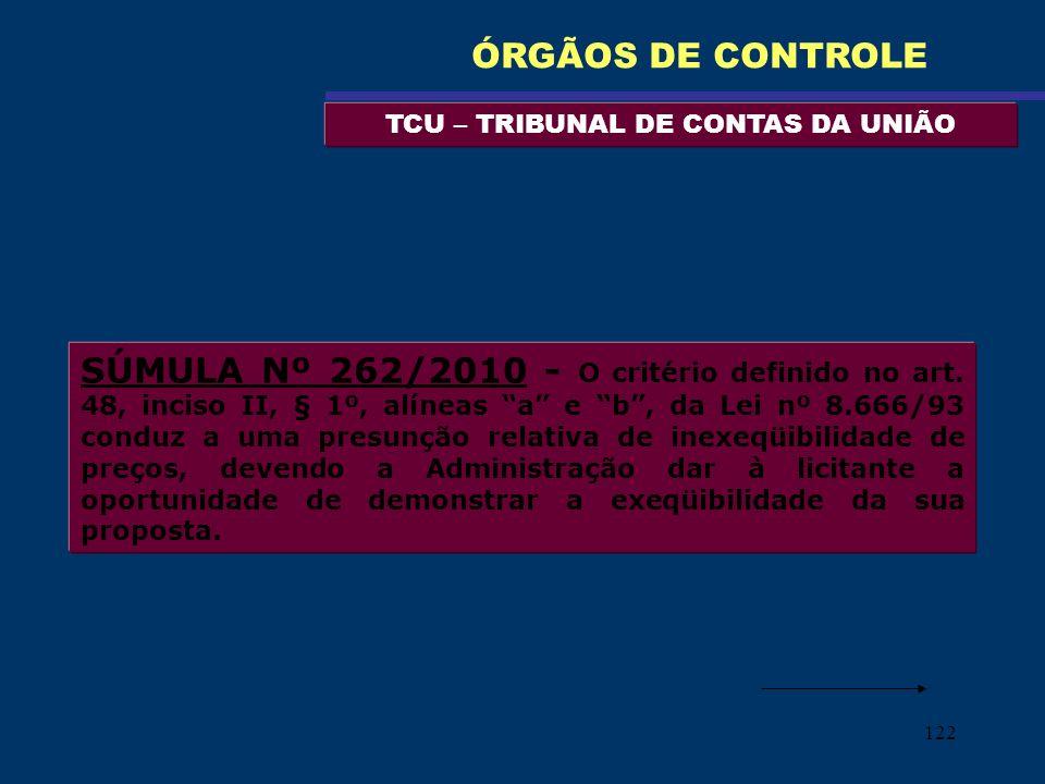 122 TCU – TRIBUNAL DE CONTAS DA UNIÃO ÓRGÃOS DE CONTROLE SÚMULA Nº 262/2010 - O critério definido no art. 48, inciso II, § 1º, alíneas a e b, da Lei n