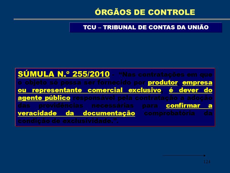 124 TCU – TRIBUNAL DE CONTAS DA UNIÃO ÓRGÃOS DE CONTROLE SÚMULA N.º 255/2010 - Nas contratações em que o objeto só possa ser fornecido por produtor, e