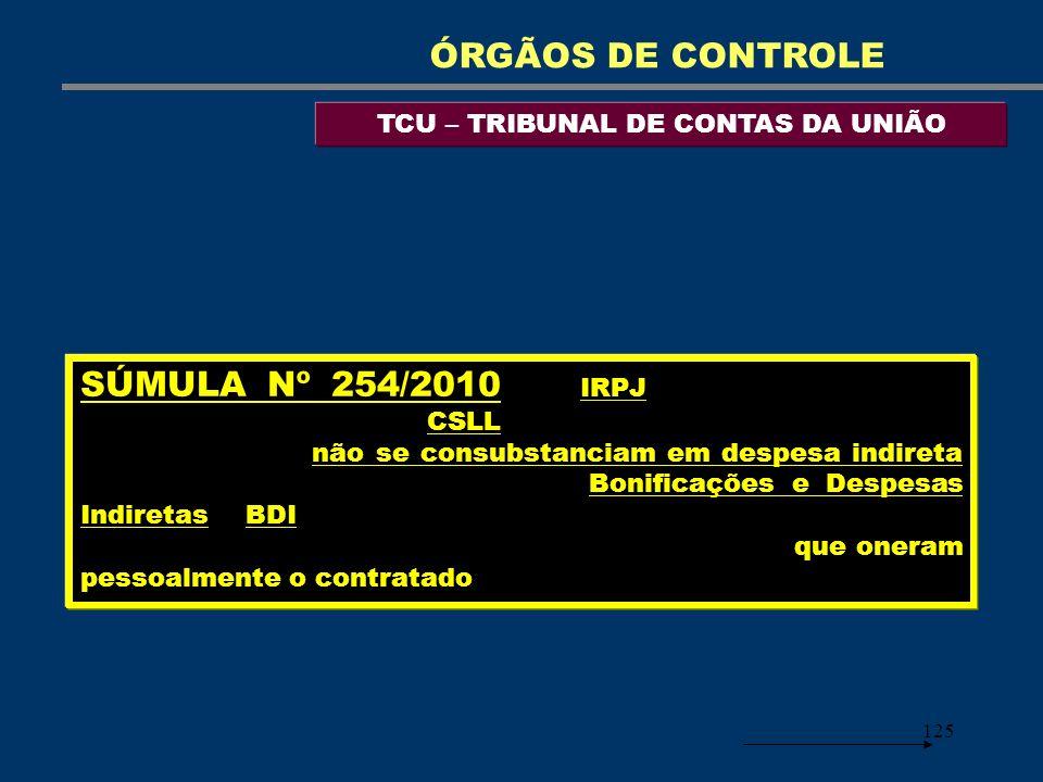 125 TCU – TRIBUNAL DE CONTAS DA UNIÃO ÓRGÃOS DE CONTROLE SÚMULA Nº 254/2010 - O IRPJ – Imposto de Renda Pessoa Jurídica – e a CSLL – Contribuição Soci