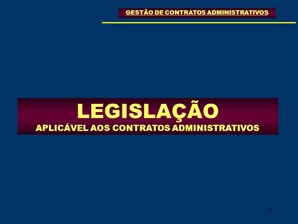 14 LEGISLAÇÃO APLICÁVEL AOS CONTRATOS ADMINISTRATIVOS GESTÃO DE CONTRATOS ADMINISTRATIVOS