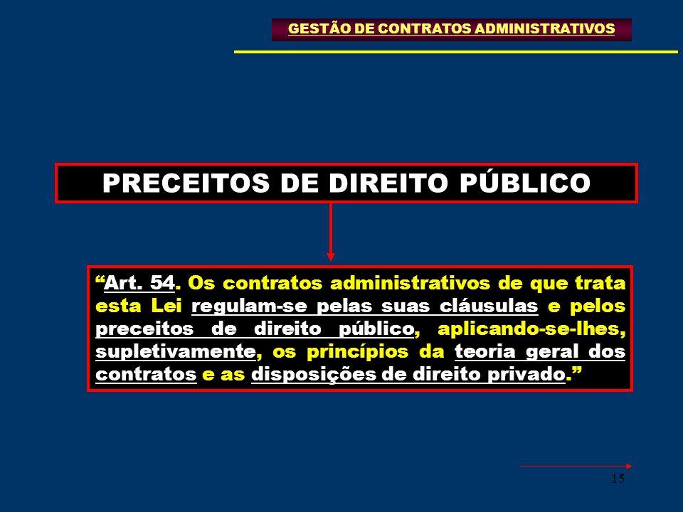 15 PRECEITOS DE DIREITO PÚBLICO GESTÃO DE CONTRATOS ADMINISTRATIVOS Art. 54. Os contratos administrativos de que trata esta Lei regulam-se pelas suas