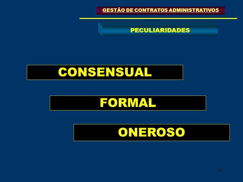 19 CONSENSUAL FORMAL ONEROSO GESTÃO DE CONTRATOS ADMINISTRATIVOS PECULIARIDADES