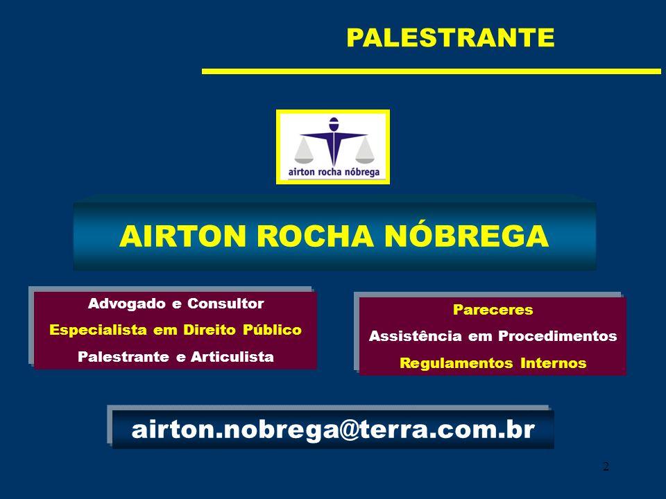 2 AIRTON ROCHA NÓBREGA Advogado e Consultor Especialista em Direito Público Palestrante e Articulista Pareceres Assistência em Procedimentos Regulamen