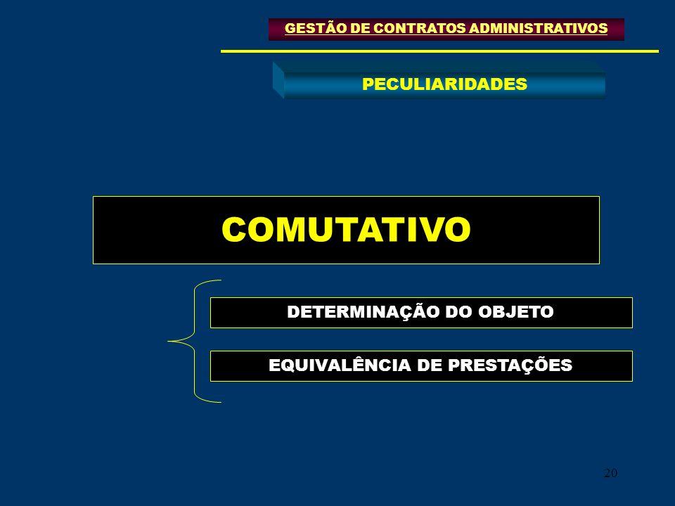 20 COMUTATIVO DETERMINAÇÃO DO OBJETO GESTÃO DE CONTRATOS ADMINISTRATIVOS PECULIARIDADES EQUIVALÊNCIA DE PRESTAÇÕES