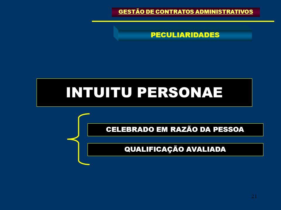 21 INTUITU PERSONAE GESTÃO DE CONTRATOS ADMINISTRATIVOS PECULIARIDADES CELEBRADO EM RAZÃO DA PESSOA QUALIFICAÇÃO AVALIADA