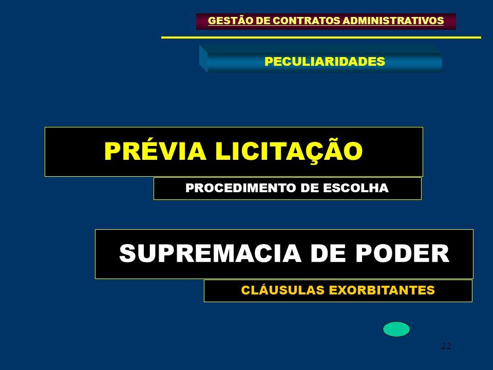 22 PRÉVIA LICITAÇÃO SUPREMACIA DE PODER GESTÃO DE CONTRATOS ADMINISTRATIVOS PECULIARIDADES PROCEDIMENTO DE ESCOLHA CLÁUSULAS EXORBITANTES