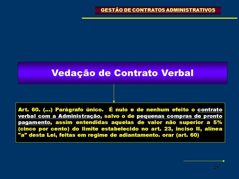 25 Art. 60. (...) Parágrafo único. É nulo e de nenhum efeito o contrato verbal com a Administração, salvo o de pequenas compras de pronto pagamento, a