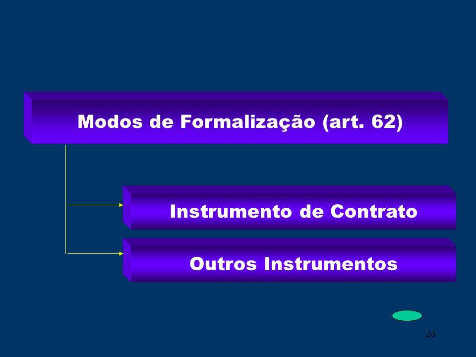 26 Modos de Formalização (art. 62) Instrumento de Contrato Outros Instrumentos