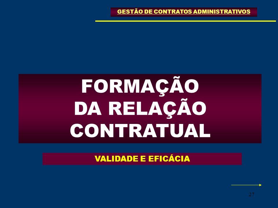 27 FORMAÇÃO DA RELAÇÃO CONTRATUAL GESTÃO DE CONTRATOS ADMINISTRATIVOS VALIDADE E EFICÁCIA