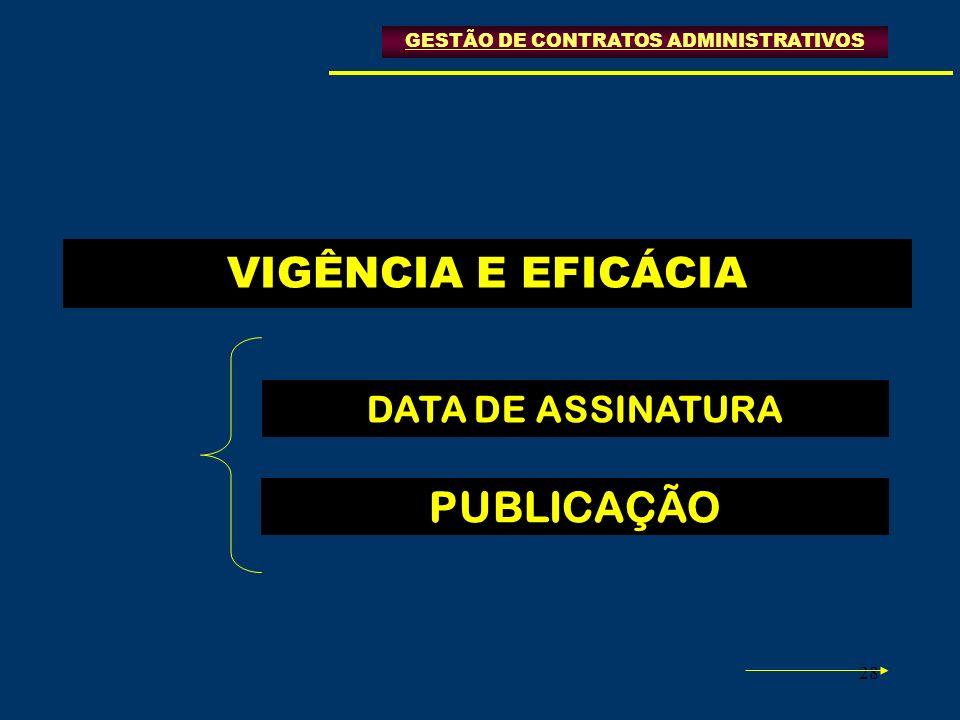 28 VIGÊNCIA E EFICÁCIA DATA DE ASSINATURA PUBLICAÇÃO GESTÃO DE CONTRATOS ADMINISTRATIVOS