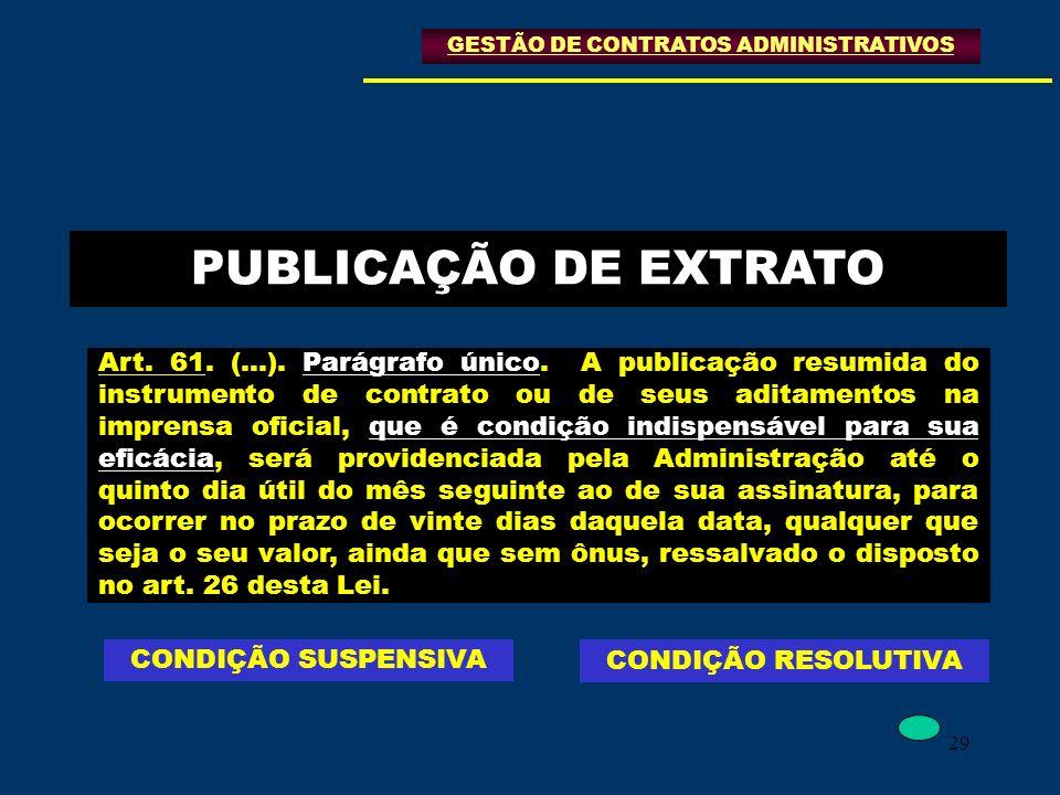 29 PUBLICAÇÃO DE EXTRATO Art. 61. (...). Parágrafo único. A publicação resumida do instrumento de contrato ou de seus aditamentos na imprensa oficial,