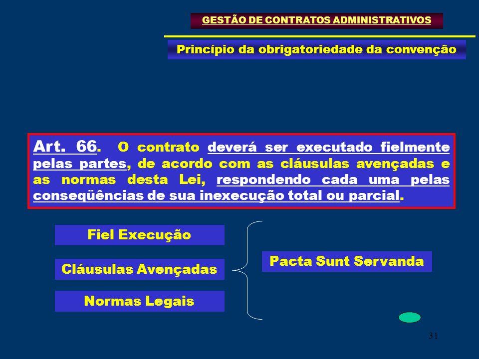 31 GESTÃO DE CONTRATOS ADMINISTRATIVOS Princípio da obrigatoriedade da convenção Art. 66. O contrato deverá ser executado fielmente pelas partes, de a