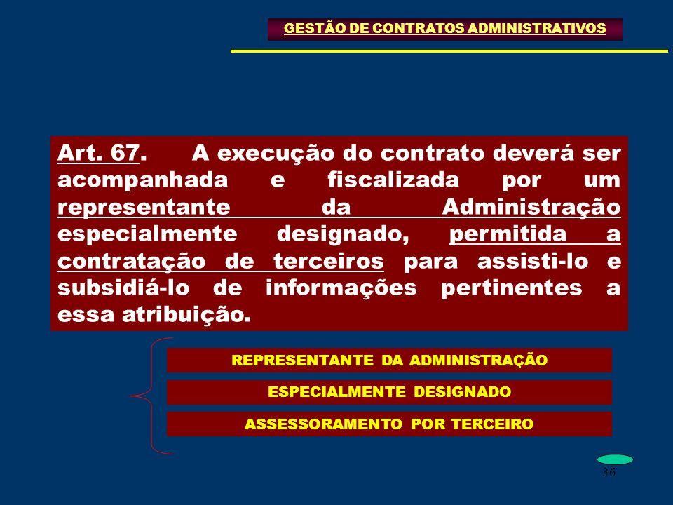 36 GESTÃO DE CONTRATOS ADMINISTRATIVOS Art. 67.A execução do contrato deverá ser acompanhada e fiscalizada por um representante da Administração espec