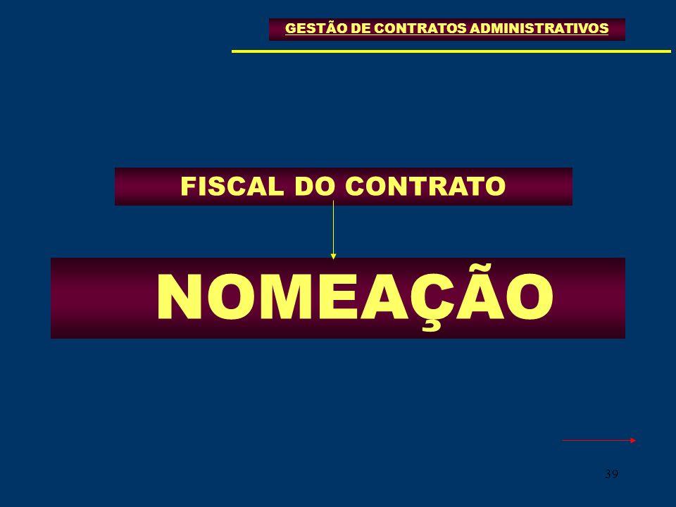 39 FISCAL DO CONTRATO GESTÃO DE CONTRATOS ADMINISTRATIVOS NOMEAÇÃO