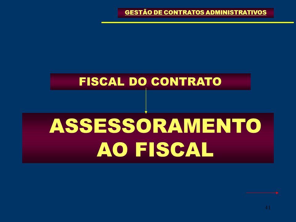 41 FISCAL DO CONTRATO GESTÃO DE CONTRATOS ADMINISTRATIVOS ASSESSORAMENTO AO FISCAL