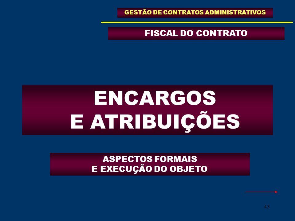 43 FISCAL DO CONTRATO GESTÃO DE CONTRATOS ADMINISTRATIVOS ENCARGOS E ATRIBUIÇÕES ASPECTOS FORMAIS E EXECUÇÃO DO OBJETO