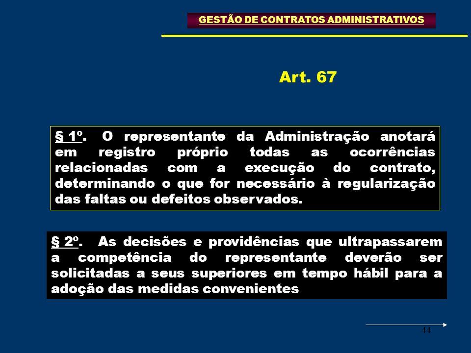 44 GESTÃO DE CONTRATOS ADMINISTRATIVOS § 1º.O representante da Administração anotará em registro próprio todas as ocorrências relacionadas com a execu