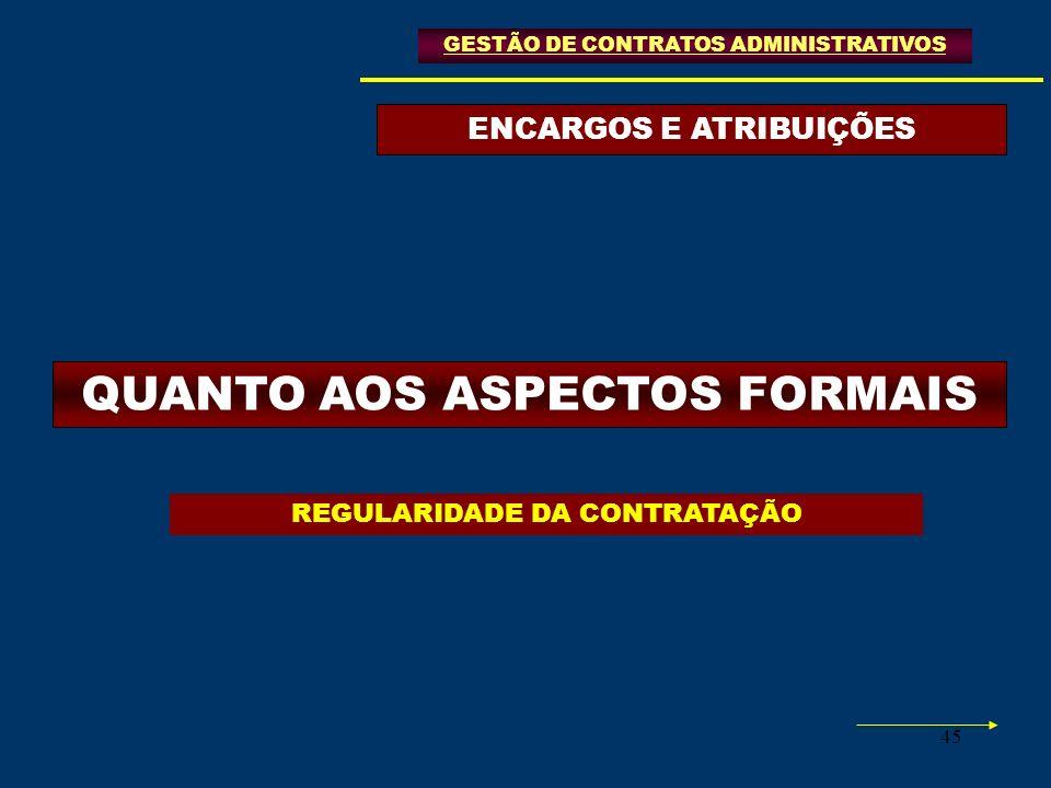 45 ENCARGOS E ATRIBUIÇÕES GESTÃO DE CONTRATOS ADMINISTRATIVOS QUANTO AOS ASPECTOS FORMAIS REGULARIDADE DA CONTRATAÇÃO