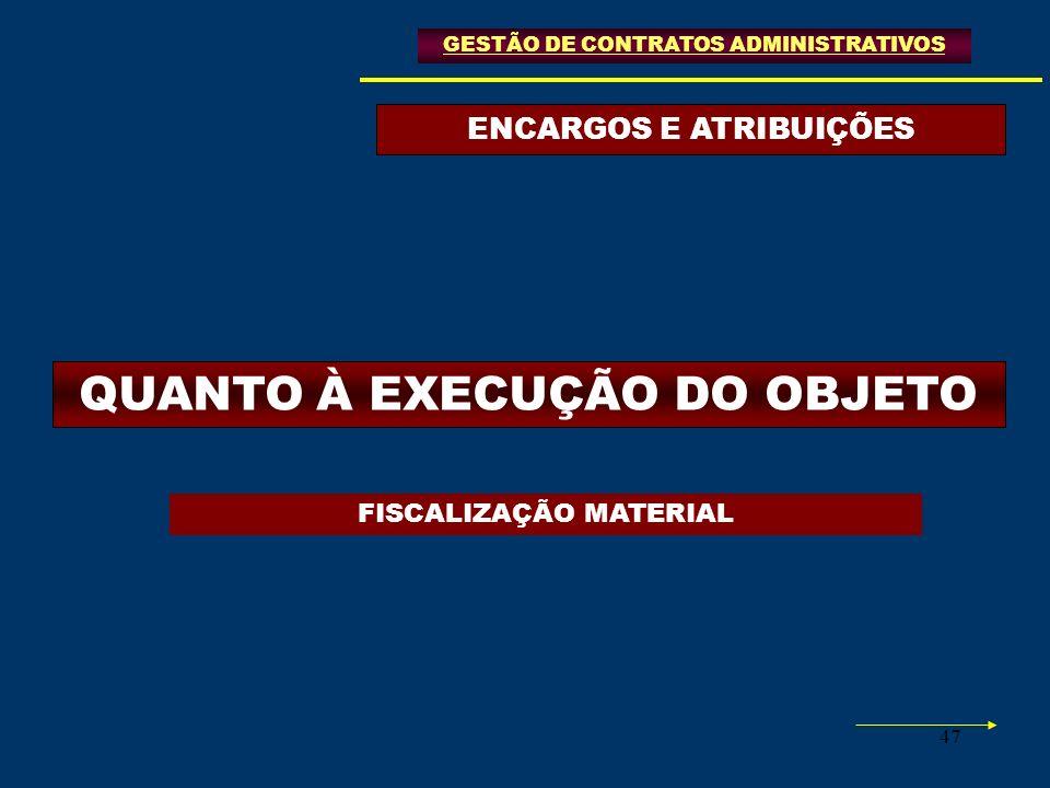 47 ENCARGOS E ATRIBUIÇÕES GESTÃO DE CONTRATOS ADMINISTRATIVOS QUANTO À EXECUÇÃO DO OBJETO FISCALIZAÇÃO MATERIAL