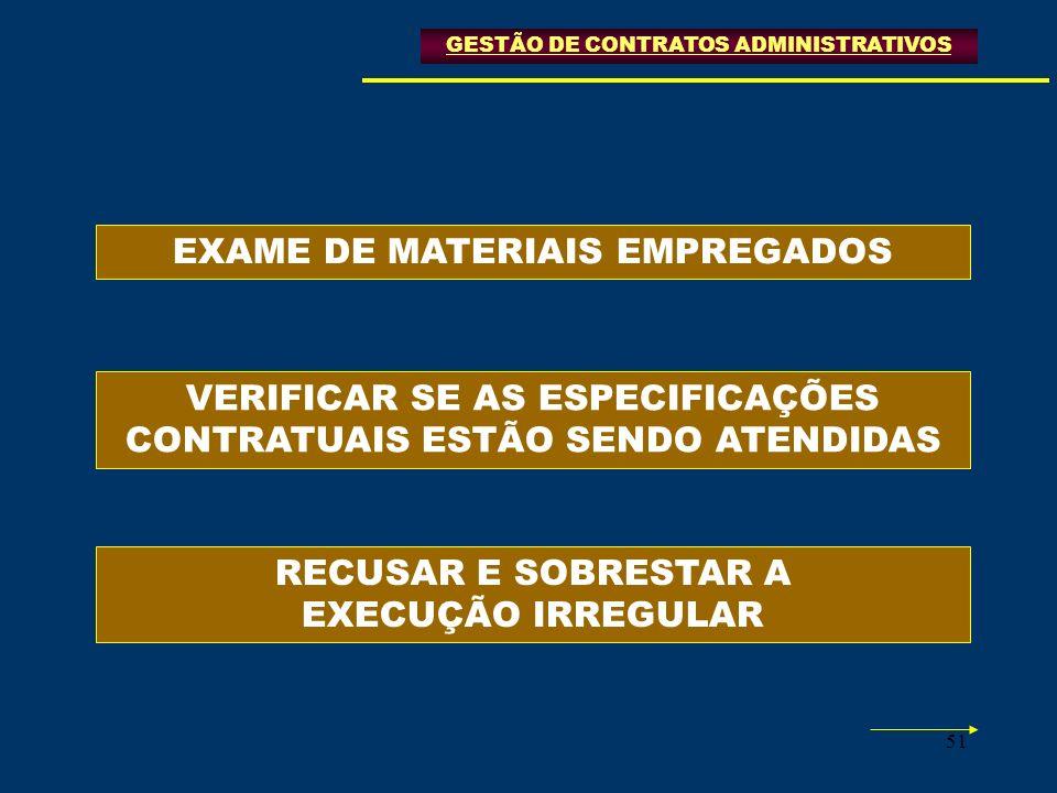 51 GESTÃO DE CONTRATOS ADMINISTRATIVOS EXAME DE MATERIAIS EMPREGADOS VERIFICAR SE AS ESPECIFICAÇÕES CONTRATUAIS ESTÃO SENDO ATENDIDAS RECUSAR E SOBRES