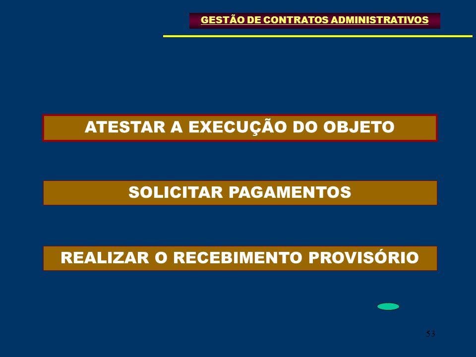53 GESTÃO DE CONTRATOS ADMINISTRATIVOS ATESTAR A EXECUÇÃO DO OBJETO SOLICITAR PAGAMENTOS REALIZAR O RECEBIMENTO PROVISÓRIO