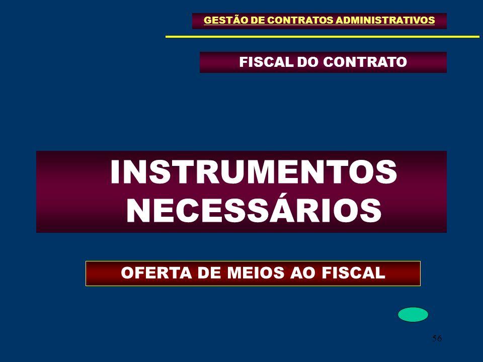56 FISCAL DO CONTRATO GESTÃO DE CONTRATOS ADMINISTRATIVOS INSTRUMENTOS NECESSÁRIOS OFERTA DE MEIOS AO FISCAL